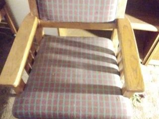 Wooden Chair with Plaid Design