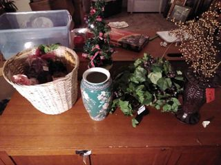 lot of Faux Flowers and Vases