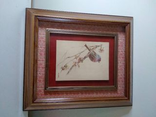 A Picture in a Picture of a Bird Painting   Signed 15 x 13 Inches