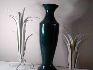 lot of 3  Green Vase and Metal Decor