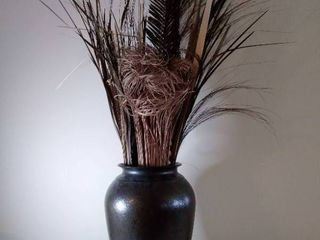 15 x 9 Inch Brown Vase with Faux Flowers