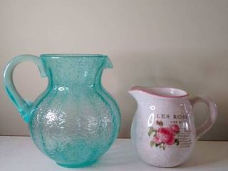 lot of 2 Pitchers  Bubble Blue Glass and Floral Ceramic