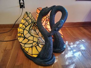Vintage Swan Couple Iron Base Double lighted Stain Glass light Fixture