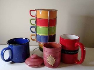 Stackable Colorful  Mugs with Metal Organizer