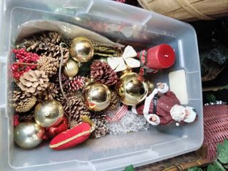 lot of Christmas Decor in Clear Tote  Ceramic Santa Bells   Ribbons and More