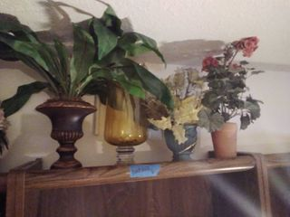 lot of 4 Vases with Faux Flowers  Amber Glass and More