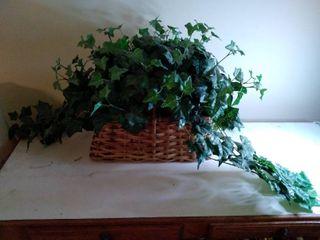 Faux Flowers In Wicker Basket  14 x 10 x 8 Inches