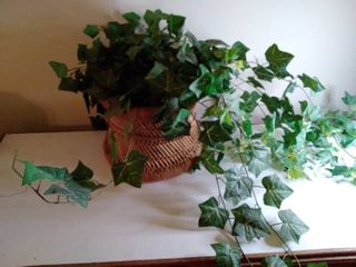 Circular Wicker Basket with Faux Flowers