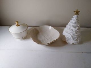 lot of 2 lenox Gilded Dishware with Beautiful Christmas Tree