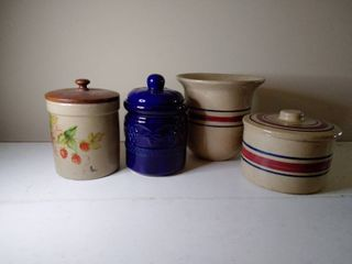 lot of 4  3 Marvelous Canisters or Cookie Jars and 1 Matching Vase