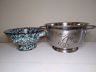 lot of 2 Strainers  Enamel and Stainless   Both with Cool Unique Designs