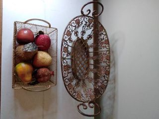 lot of 2 Metal Baskets  1 Victorian Style Centerpiece and 1 Small Basket that Contains Fake Fruit
