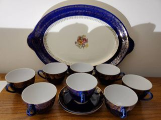 Navy Blue and White Tea Set   Platter  Unknown   Brand Marking Photographed