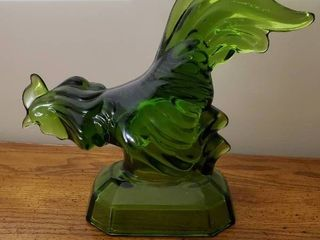 Rare Green Glass Rooster