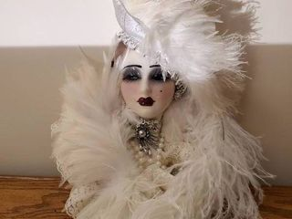 Porcelain Signed White Feathered Seventh Avenue Mask