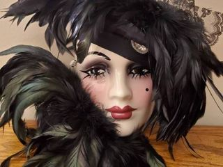 Porcelain Signed Black Feathered Mask