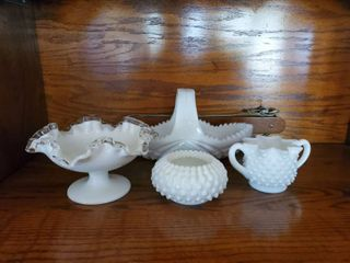 lot of 4 Milk Glass   Assortment