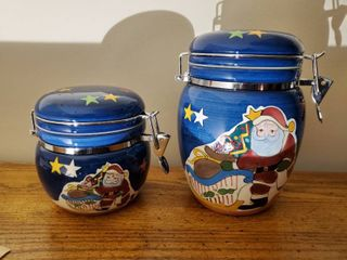 Set of 2 Santa Claus Theme Cannisters