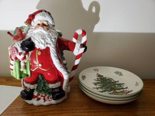 Santa Claus Juice Pitcher and 3 Christmas Theme Cookie Plates