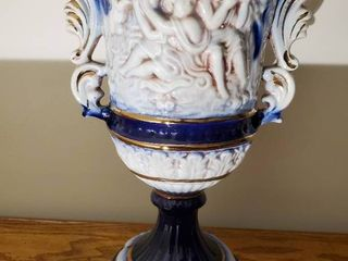 Norleans Hand Painted   Blue and Gold Tone Rim Vase