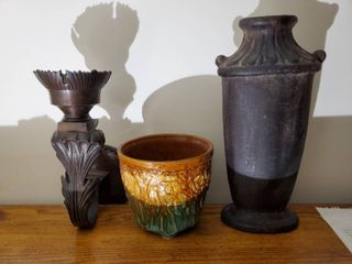 Glazed McCoy Planter with Decorative Wall Scone and Decorative Earthware Vase