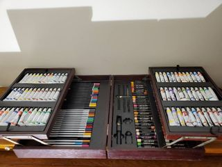 Art Gallery All in One   3 Sets of Paints   Colored Pencils   Oil Pastels
