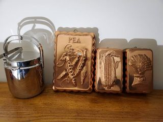 lot of 3 Thin Copper Tone Wall Deco and Ice Bucket