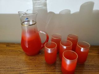 West Virginia Glass Pitcher and 6 Glasses