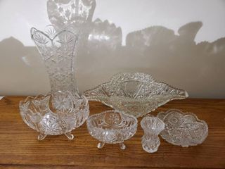 lot of 6 Quality Crystal Diamond Cut Crystal Glass Pieces