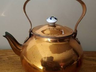 Vintage Copper Teapot Kettle With Delft Porcelain Handles