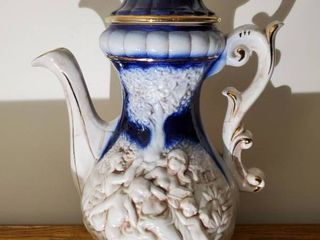 Norleans Blue and Gold Tone Rim Pitcher   Made in Italy