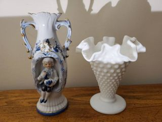 Ruffled Hobnail Milk Glass Vase and Victorian Unbranded Porcelain Vase