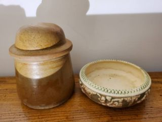Vintage Dated Earthware Bowl and Stoneware Cannister