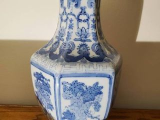 Blue and White Oriental Theme Vase