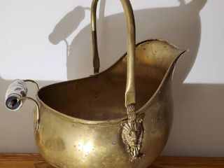 Antique Copper Coal Scuttle w Delft Handles