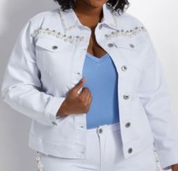 ASHlEY STEWART PEARl TRIM JEAN JACKET COlOR WHITE SIZE 14 16