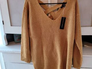 FASHION NOVA GEORGINA CAGED BACK SWEATER COlOR MUSTARD SIZE MEDIUM