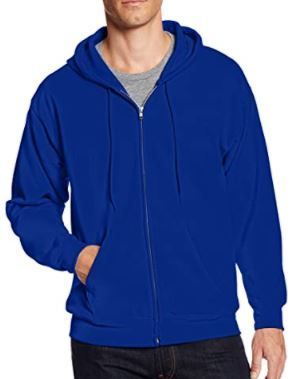 HANES ECOSMART ZIP UP HOODIE COlOR BlUE SIZE lARGE