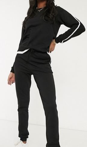 ASOS DESIGN TAll TRACKSUIT CUTE SWEATSHIRT   JOGGER WITH CONTRAST BINDINGS SIZE 8