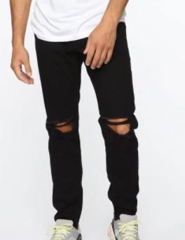 FASHION NOVA MEN QUENTIN SKINNY JEANS COlOR BlACK SIZE 34
