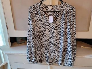 J  CREW BlOUSE WHITE WITH BlACK POlKA DOTS SIZE 2