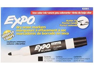 EXPO 82001 low Odor Bullet Black Dry Erase Markers For Use On Whiteboards  Glass and Non porous Surfaces  Ideal for Classrooms  Offices and Homes  Pack of 11