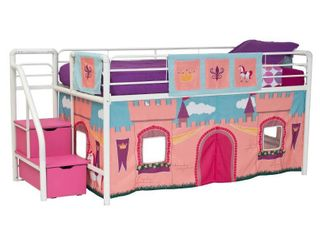 DHP Princess Castle Design Curtain Set for Junior loft Bed  Kids Furniture  Pink