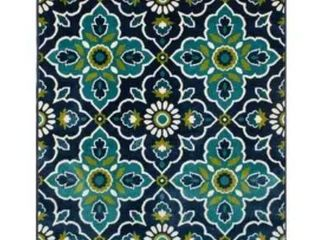 Trisha Yearwood Home Bluffton Sapphire Turquoise Indoor Outdoor Area Rug  6 7 x 9 6  Retail 155 99