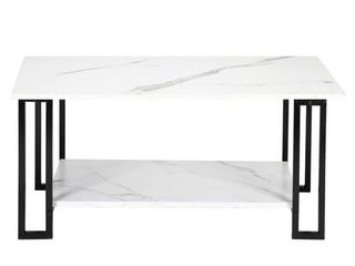 2 layers 1 5cm Thick  Imitation Marble Square Tabletop Iron Coffee Table  White  Retail 78 48