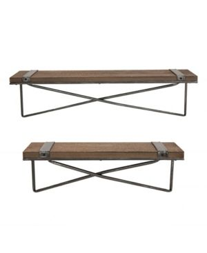Glitzhome Farmhouse Metal and Wooden Wall Shelf