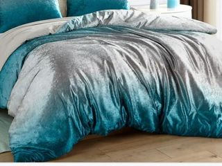 Coma Inducer Comforter  Ombre Velvet Crush  Teal Silver Grey  Oversized Queen