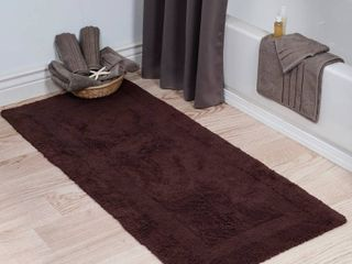 Windsor Home 100 percent Cotton Reversible Bath Mat Runner  Chocolate  24  x 60