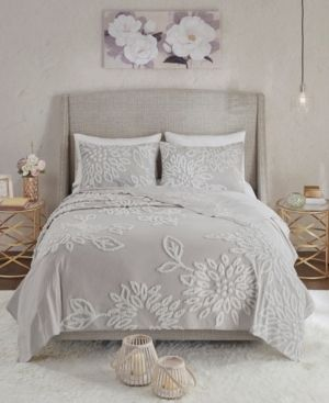 Madison Park Veronica King California King 3 Pc  Tufted Cotton Chenille Floral Coverlet Set