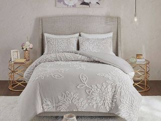 Madison Park Veronica Full Queen 3 Pc  Tufted Cotton Chenille Floral Duvet Cover Set Bedding